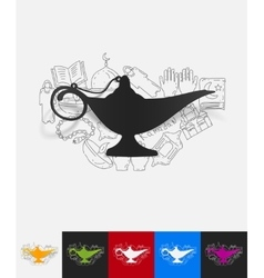 Lamp paper sticker with hand drawn elements vector