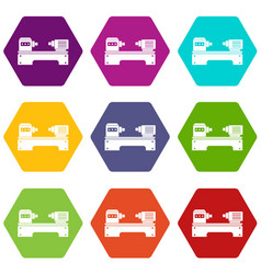 Lathe machine icon set color hexahedron vector