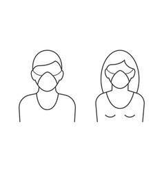 man and woman wearing protecting mask on white vector image