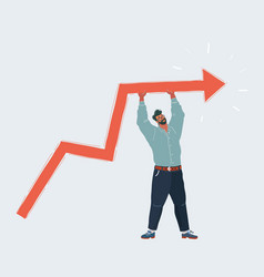 man raises line graph up supporting increase vector image