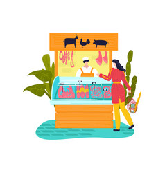 market stall meat products flat style street vector image