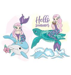 Mermaid turtle dolphin sea travel clipart vector