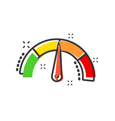 Meter dashboard icon in comic style credit score vector