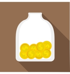 Money piggy bank icon flat style vector image