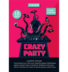 Music party poster with octopus dj and mixing vector
