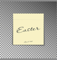 office yellow post note with text happy easter and vector image