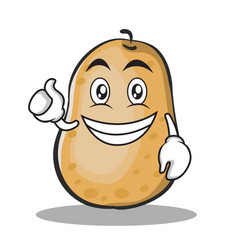 Optimistic potato character cartoon style vector