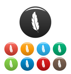 peacock feather icons set color vector image