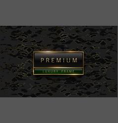 Premium black green label with golden frame on vector