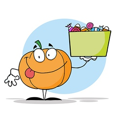 Pumpkin Holding Up A Tub Of Candy vector