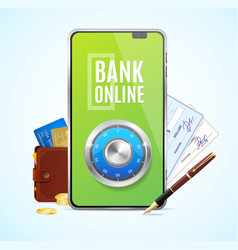 realistic 3d detailed bank online app concept vector image