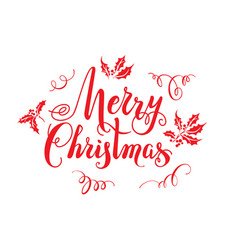 Red merry christmas lettering vector