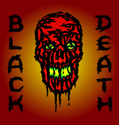 Red skull is bleeding black death vector