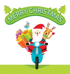 Santa Claus Riding Motorcycle With Reindeer vector image