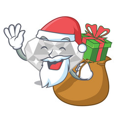 Santa with gift white diamond in character box vector