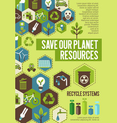 save planet resources banner for ecology concept vector image