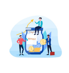 Savings concept with people sitting vector