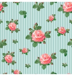 Seamless Pattern with Roses in Retro Style vector