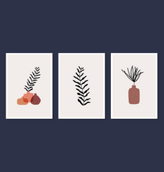 Set 3 modern aesthetic posters for home decor vector