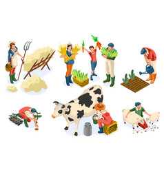 set farmer agricultural worker vector image