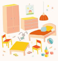 Set of furniture for children room kids small vector