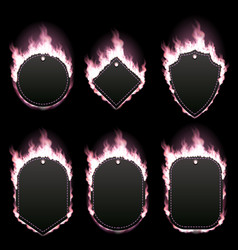 set of six frames surrounded with pink flame vector image