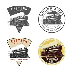 Set vintage retro railroad steam train logos vector