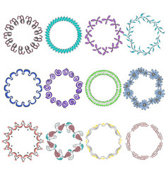 set with round hand drawn multicolor frames vector image