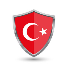 shield with flag of turkey isolated vector image