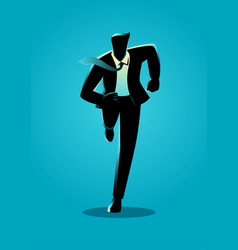 Silhouette of a businessman running vector