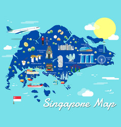Singapore map with colorful landmarks design vector