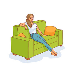 sketch young woman sitting at sofa resting vector image