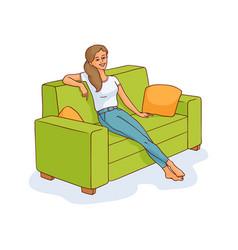 sketch young woman sitting at sofa resting vector image