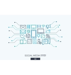 Social media integrated thin line symbols vector image