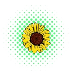 Sunflower icon comics style vector image