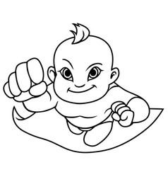 Super baby asian line art vector