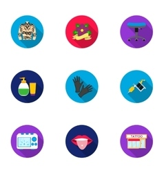 Tattoo studio set icons in flat style Big vector