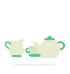tea-set flat isolated vector image