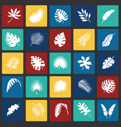 tropic leafs icons set on color squares background vector image