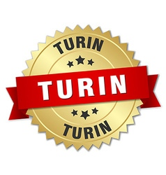 Turin round golden badge with red ribbon vector