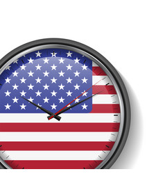 Us flag clock with shadow on white background vector