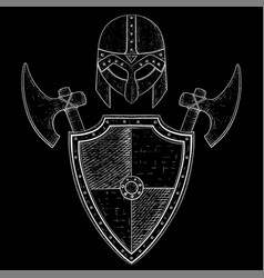 viking warrior set - shield axes and helmet hand vector image