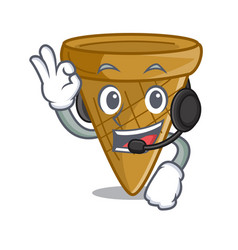 With headphone sweet wafer cone isolated on maskot vector