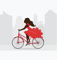 Woman in red dress rides bicycle on background of vector