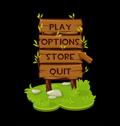 Wooden panel icons banner with arrow for game vector
