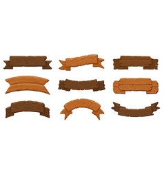 Wooden ribbon boards wood antique sign boards vector
