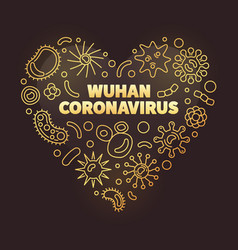 Wuhan coronavirus heart shape golden vector