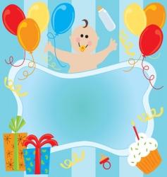 baby boy birthday invitation vector image vector image