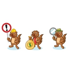 Brown Sea Otter Mascot with money vector image vector image