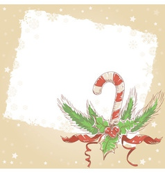 Christmas hand drawn postcard with candy cane vector image vector image